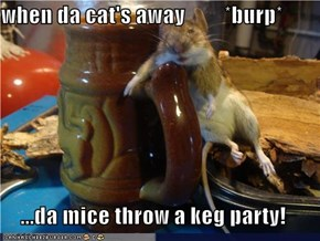 when da cat's away         *burp*  ...da mice throw a keg party!