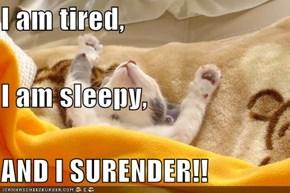 I am tired, I am sleepy, AND I SURENDER!!
