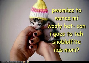 pwomizz to warez mi wooly hat- can i goes to teh snoblolfite nao mom?