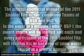 The Coveted Snoblol Fite 2011 Award (feel free 2 declare a winner!--- NWR already has, too !