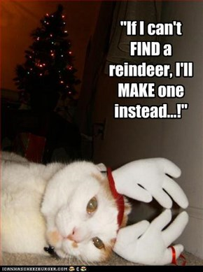 """If I can't FIND a reindeer, I'll MAKE one instead...!"""