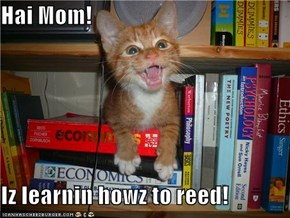 Hai Mom!   Iz learnin howz to reed!