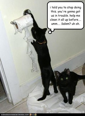 i told you to stop doing this. you're gonna get us in trouble. help me clean it all up before.... umm.... Salem? uh oh.