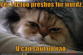 Yez I IZ too preshus fur wurdz.              U can shut up nao.