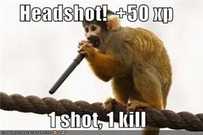 Headshot!  +50 xp  1 shot, 1 kill