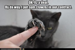 OK. Itz a deal. By da way, I put sum clawzez in our contract.