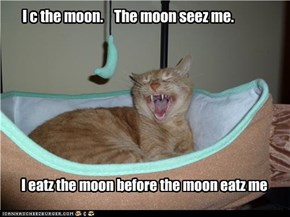 I c the moon.    The moon seez me.
