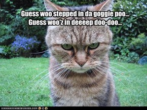 Guess woo stepped in da goggie poo... Guess woo'z in deeeep doo-doo...
