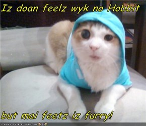 Iz doan feelz wyk no Hobbit  but mai feetz iz furry!