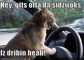 Hey, gits offa da sidzwoks,  Iz dribin heah!