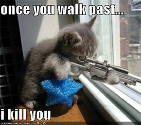 once you walk past...  i kill you