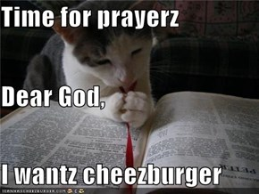 Time for prayerz Dear God, I wantz cheezburger