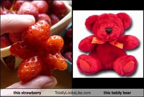 This Strawberry Totally Looks Like this Teddy Bear