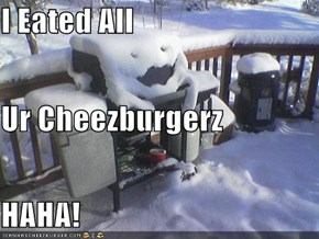 I Eated All  Ur Cheezburgerz HAHA!