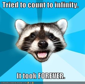 Lame Pun Coon: Tried to count to infinity.