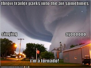 I throw trailer parks into the air sometimes singing                                                  ayoooooo i'm a tornado!