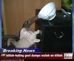 Breaking News - kitteh-hating gost dumps wateh on kitteh