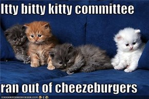 Itty bitty kitty committee  ran out of cheezeburgers