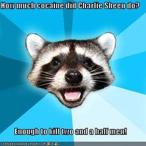 How much cocaine did Charlie Sheen do?  Enough to kill two and a half men!