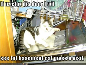 If uz cloz dis door I wil  see tat basement cat gives u visit