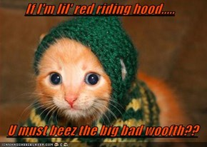 If I'm lil' red riding hood.....  U must beez the big bad woofth??