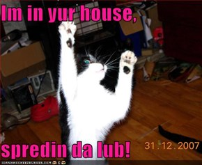 Im in yur house,  spredin da lub!