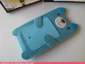 Blue Kitty Felt iPhone Case