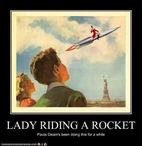 LADY RIDING A ROCKET