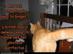 And teh Catasstrophy goez to Ginger...  a Kitteh hoo iz awlwayz eegr to show awf her glooteus purrfectus.