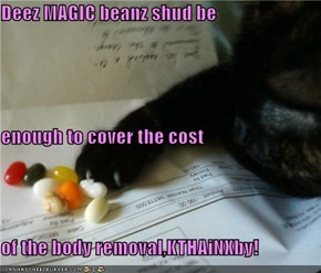 Deez MAGIC beanz shud be  enough to cover the cost of the body removal,KTHAiNXby!