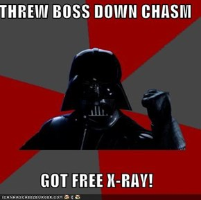 THREW BOSS DOWN CHASM  GOT FREE X-RAY!