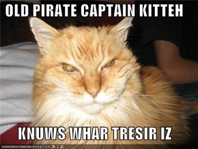 OLD PIRATE CAPTAIN KITTEH  KNUWS WHAR TRESIR IZ