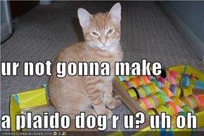 ur not gonna make a plaido dog r u? uh oh