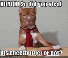 HONOR! So did you steal  his cheezburger or not?