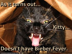 As it turns out... Kitty... Doesn't have Bieber Fever.