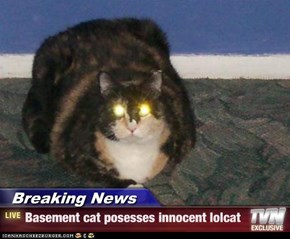 Breaking News - Basement cat posesses innocent lolcat