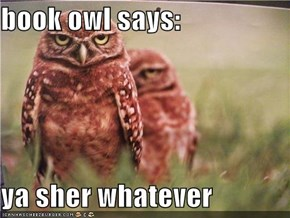 book owl says:  ya sher whatever