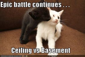 Epic battle continues . . .  Ceiling vs Basement