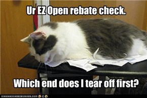 Ur EZ Open rebate check.      Which end does I tear off first?