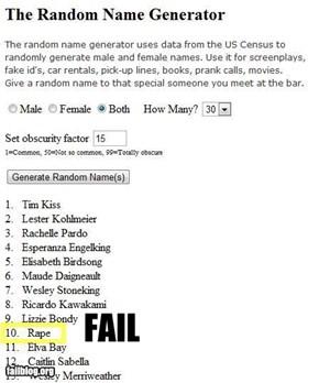 Random Name Fail