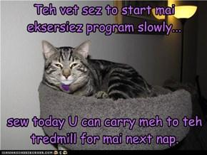 Teh vet sez to start mai eksersiez program slowly...