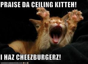 PRAISE DA CEILING KITTEH!  I HAZ CHEEZBURGERZ!
