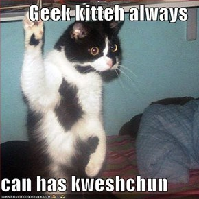 Geek kitteh always  can has kweshchun