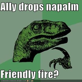 Ally drops napalm  Friendly fire?