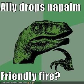 Ally drops napalm  Friendly fire?