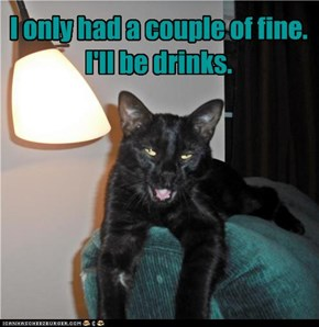I only had a couple of fine. I'll be drinks.