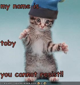 my name is toby you cannot resist!!