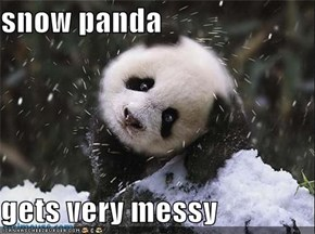 snow panda  gets very messy