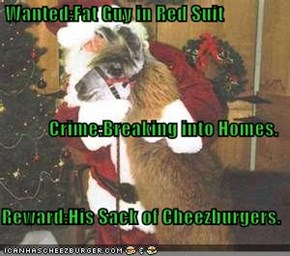 Wanted:Fat Guy in Red Suit Crime:Breaking into Homes. Reward:His Sack of Cheezburgers.
