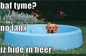 baf tyme? no fanx iz hide in heer